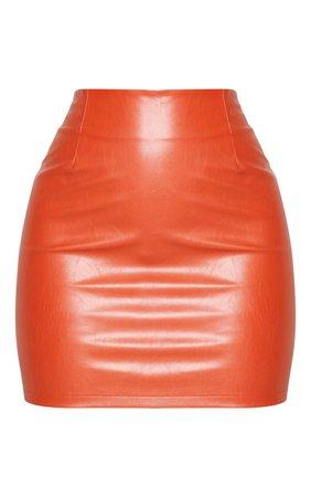 Burnt Orange Pu Mini Skirt | Co-Ords | PrettyLittleThing USA