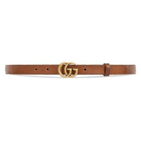 Leather belt with Double G buckle in Faded brown leather   Gucci Women's Belts