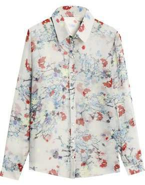 Floral-print Silk-chiffon Shirt