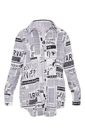 Mono Newspaper Print Oversized Shirt   Tops   PrettyLittleThing