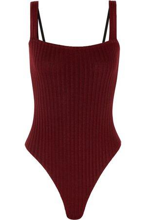 The Range | Framed satin-trimmed stretch-knit thong bodysuit | NET-A-PORTER.COM
