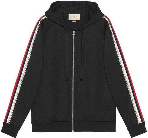 Black Crystal Stripe Zipped Sweatshirt