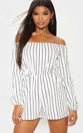 Kennie White Stripe Playsuit | PrettyLittleThing