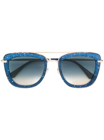 Jimmy Choo Eyewear Glossy Sunglasses GLOSSYSPJPI4GOLDBLUE Blue | Farfetch