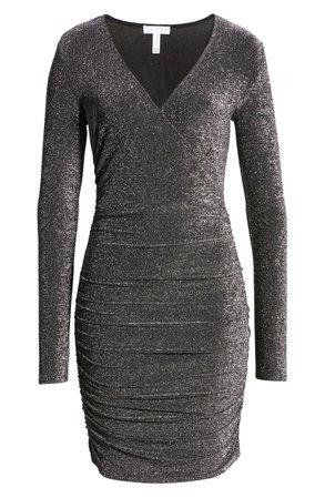Leith Metallic Long Sleeve Wrap Dress | Nordstrom