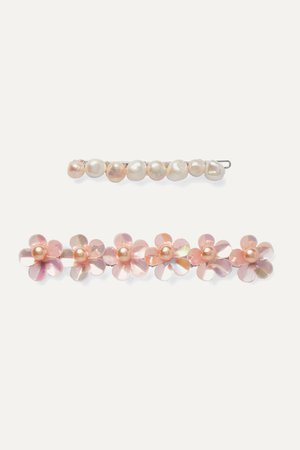 Pink Set of two rhodium-plated freshwater pearl hair slides | LELET NY | NET-A-PORTER