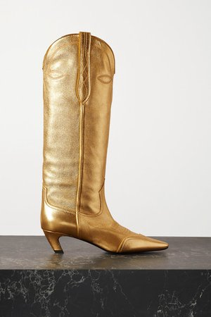 Dallas Metallic Leather Knee Boots - Gold