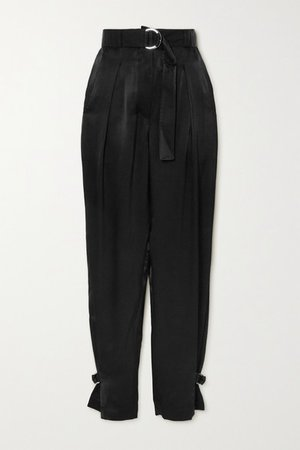 Belted Pleated Satin Tapered Pants - Black