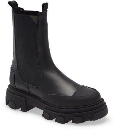 Leather Lug Sole Platform Boot