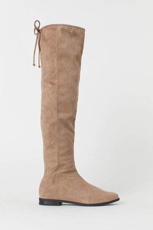 Knee-high boots - Beige