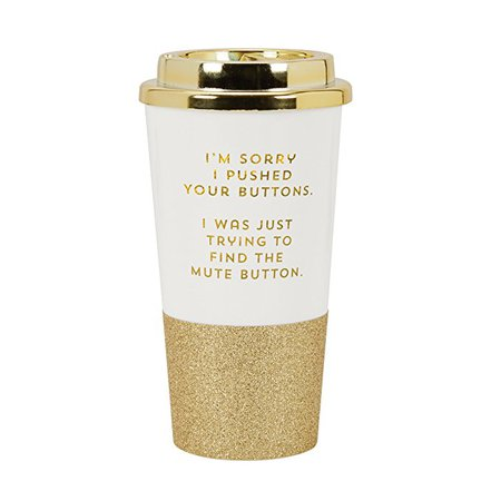 """C.R. Gibson 16 Ounce Plastic Travel Cup With Glitter Base, Includes Plastic Lid, Perfect For On The Go, Travel & More, Measures 3.4"""" D x 7"""" H - Im Sorry I Pushed Your Buttons"""