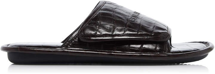 Home Croc-Embossed Leather Sandal