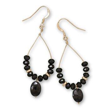 Black Spinel Drop Black Gem Stone Earrings 21892