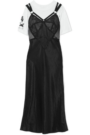 McQ Alexander McQueen | Layered lace and tulle-trimmed satin and cotton-jersey dress | NET-A-PORTER.COM