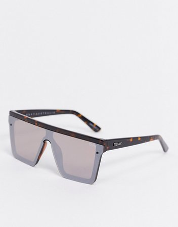 Quay Australia Hindsight visor sunglasses in brown tort with mirrored lens | ASOS