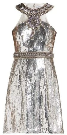Crystal And Sequin Embellished Mini Dress - Womens - Silver