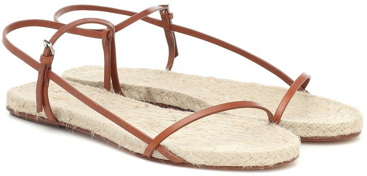 Bare leather and raffia sandals