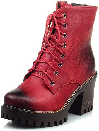 Amazon.com | SaraIris Cowboy Shoes Motorcycle Boots for Women - Vintage Round Toe Platform Block High Heeled Shoes Woman Front Lace Up Side Zip High Top Ankle Boots Red | Boots