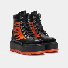 Helios Orange Hologram Flame Boots | Koi