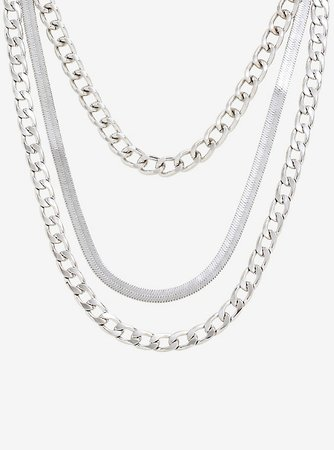 Silver Snake Chain Layered Necklace