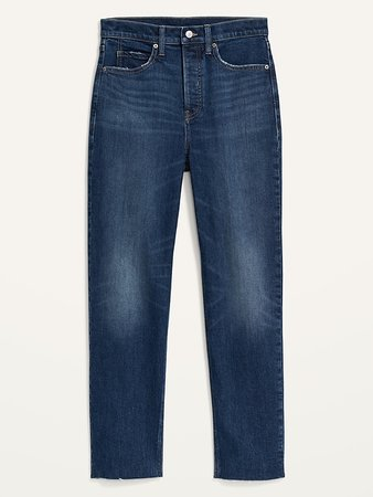 Extra High-Waisted Sky Hi Straight Button-Fly Cut-Off Jeans for Women   Old Navy