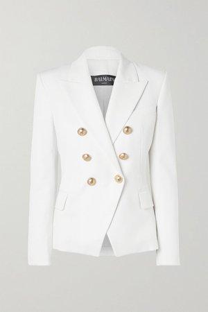 White Double-breasted wool-twill blazer   Balmain   NET-A-PORTER
