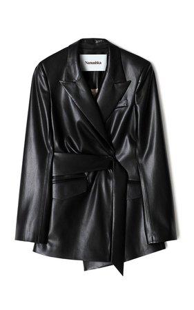 Bea Belted Vegan Leather Blazer by Nanushka   Moda Operandi