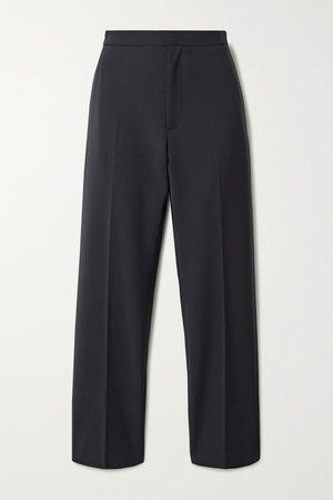 Navy Woven tapered pants | Deveaux | NET-A-PORTER