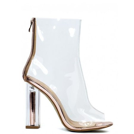 GOLD DIGGER CLEAR PERSPEX ROSE GOLD BLOCK HEELED BOOTS