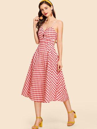 Women's Red Gingham Dress