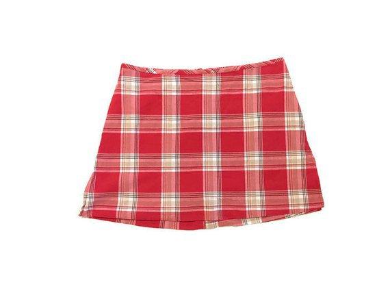 Vintage 90s Red Plaid Skirt | Etsy