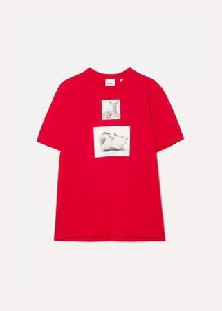 Oversized Printed Cotton-jersey T-shirt - Red