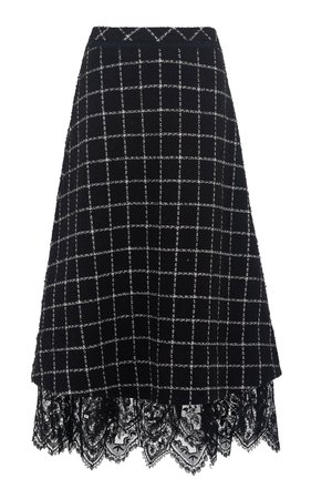 Young Blood Lace-Trimmed Checked Wool-Blend A-Line Midi Skirt by nevenka   Moda Operandi