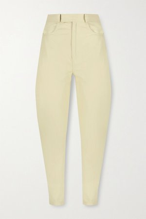 Leather Tapered Pants - Ivory