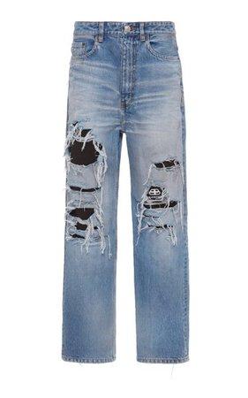 Distressed Organic High-Rise Straight-Leg Jeans By Balenciaga | Moda Operandi