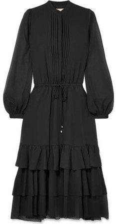 Tiered Chiffon Midi Dress - Black