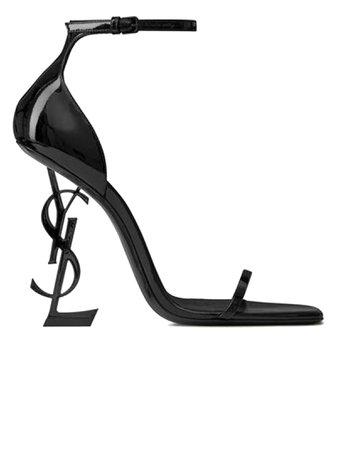 Saint Laurent Black Patent Opyum Sandals