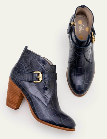 Carlisle Ankle Boots - Navy Croc | Boden US