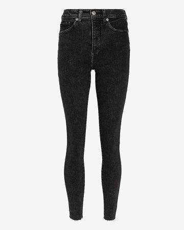 High Waisted Black Raw Hem Skinny Jeans