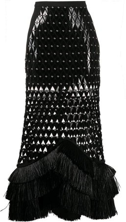 Laser-Cut Studded Skirt