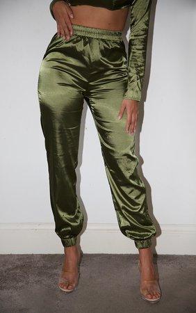 Shape Khaki Satin Elastic Hem Trouser   Curve   PrettyLittleThing