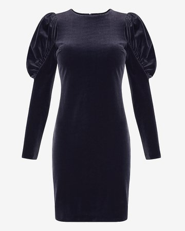 Velvet Puff Sleeve Sheath Dress | Express