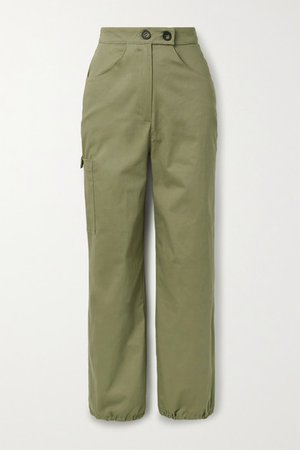 Cotton-blend Twill Cargo Pants - Army green
