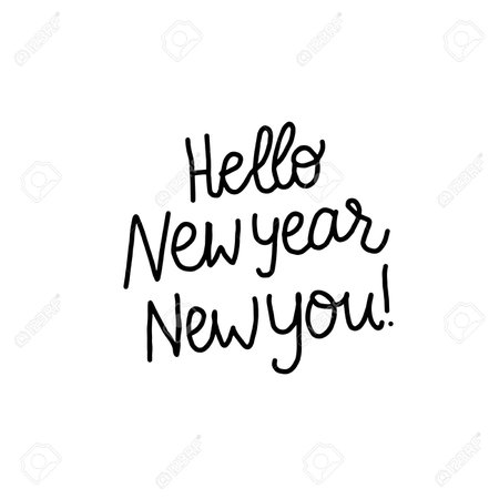 Hello New Year New You Lettering Inscription. Positive Motivate.. Royalty Free Cliparts, Vectors, And Stock Illustration. Image 114081063.