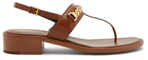 Sylvie Chain-embellished Flat Leather Sandals - Tan