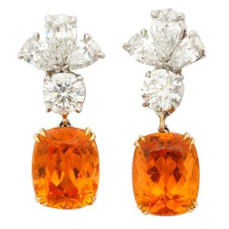 Finest Mandarin Garnet Diamond Platinum Earrings For Sale at 1stDibs