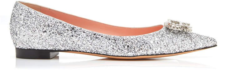 Glittered Leather Ballet Flats