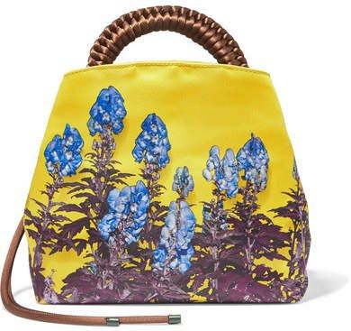 Floral-print Satin Tote - Yellow