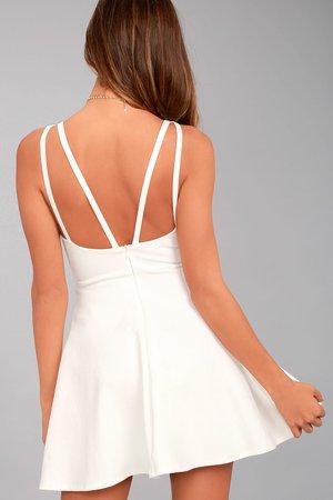 White Skater Dress Back