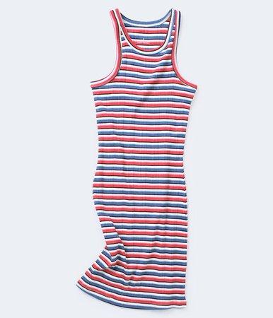 Americana Stripe Ribbed Bodycon Dress